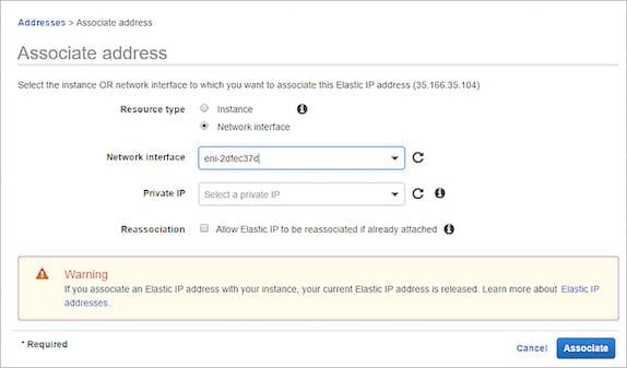 Bien assigner une adresse IP élastique sur une interface réseau publique sur une instance AWS