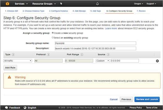 Configurer un groupe de sécurité pour votre instance Firebox Cloud afin de tout laisser passer