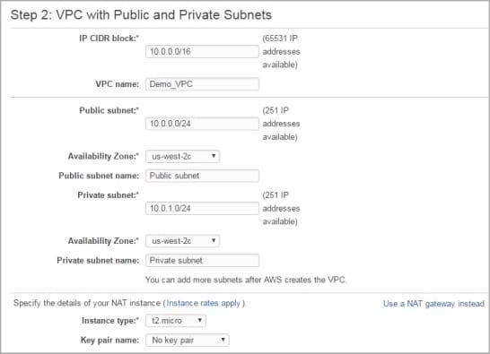 Choisir les détails de l'instance NAT sur un VPC Amazon