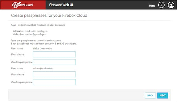 L'assistant Setup Wizard du Fireware Web UI Watchguard Cloud AWS